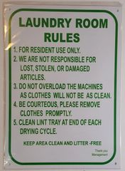 LAUNDRY ROOM RULES SIGN– WHITE ALUMINUM (14X10)