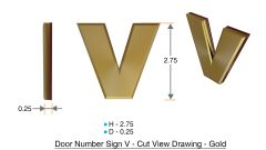 z- APARTMENT, DOOR AND MAILBOX LETTER V SIGN - LETTER SIGN V- GOLD (HIGH QUALITY PLASTIC DOOR SIGNS 0.25 THICK)