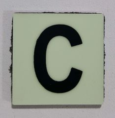 Glow in dark Number C sign The Liberty Line (Aluminum SIGNS 1x1, 3 RCNY §505-01)