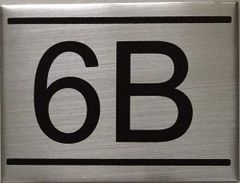 APARTMENT NUMBER SIGN – 6B -BRUSHED ALUMINUM