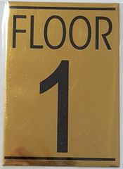 FLOOR NUMBER ONE (1) SIGN – GOLD ALUMINUM (5.75X4)