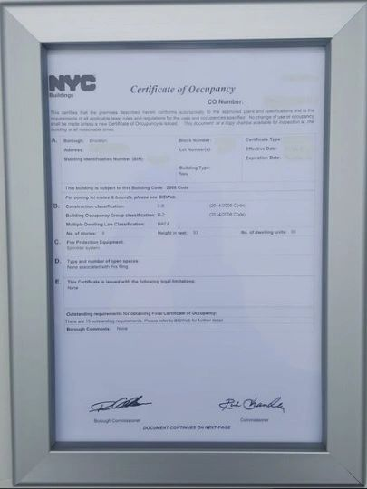 Fire Department Frame - Certificate of Occupancy Frame (Heavy Dut ...