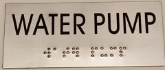 WATER PUMP SIGN – STAINLESS STEEL (3X6.75)