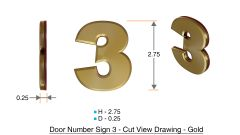 z- APARTMENT, DOOR AND MAILBOX NUMBER THREE SIGN - 3 SIGN- GOLD (HIGH QUALITY PLASTIC DOOR SIGNS 0.25 THICK)