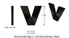 z- APARTMENT, DOOR AND MAILBOX LETTER V SIGN - LETTER SIGN V- BLACK (HIGH QUALITY PLASTIC DOOR SIGNS 0.25 THICK)