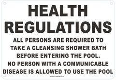 HEALTH REGULATIONS FOR POOL AREAS SIGN (ALUMINUM SIGNS 7 X 10)