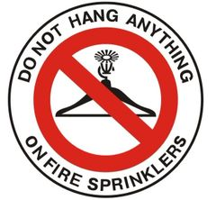 DO NOT HANG ANYTHING ON FIRE SPRINKLERS SIGN (ROUND CIRCLE ALUMINUM SIGNS 3X3)