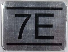 z- APARTMENT NUMBER SIGN – 7E -BRUSHED ALUMINUM (ALUMINUM SIGNS 2.25X3)