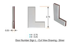 z- APARTMENT, DOOR AND MAILBOX LETTER L SIGN - LETTER SIGN L- SILVER (HIGH QUALITY PLASTIC DOOR SIGNS 0.25 THICK)