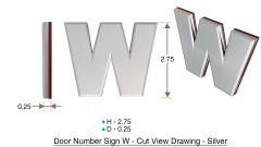 z- APARTMENT, DOOR AND MAILBOX LETTER W SIGN - LETTER SIGN W- SILVER (HIGH QUALITY PLASTIC DOOR SIGNS 0.25 THICK)
