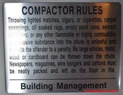 COMPACTOR RULES SIGN (ALUMINUM SIGNS 8.5X11)