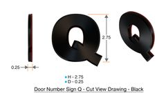 z- APARTMENT, DOOR AND MAILBOX LETTER Q SIGN - LETTER SIGN Q- BLACK (HIGH QUALITY PLASTIC DOOR SIGNS 0.25 THICK)