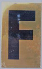 Apartment number sign F– (GOLD ALUMINUM SIGNS 4X2.5)