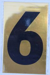 Apartment number sign 6 – (GOLD, ALUMINUM SIGNS 4X2.5)