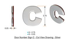 z- APARTMENT, DOOR AND MAILBOX LETTER C SIGN - LETTER SIGN C- SILVER (HIGH QUALITY PLASTIC DOOR SIGNS 0.25 THICK)