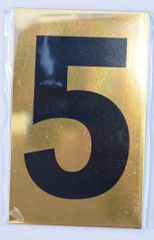 Apartment number sign 5 – (GOLD, ALUMINUM SIGNS 4X2.5)