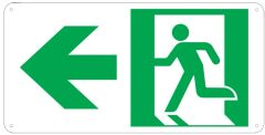 "PHOTOLUMINESCENT EXIT SIGN HEAVY DUTY / GLOW IN THE DARK ""EXIT"" SIGN HEAVY DUTY (ALUMINUM SIGN 4.5 X 9 WIT LEFT ARROW AND RUNNING MAN)"