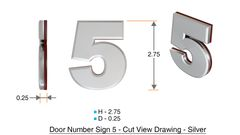 z- APARTMENT, DOOR AND MAILBOX NUMBER FIVE SIGN - 5 SIGN- SILVER (HIGH QUALITY PLASTIC DOOR SIGNS 0.25 THICK)