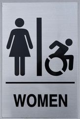 WOMEN ACCESSIBLE RESTROOM SIGN (ALUMINUM SIGNS 9X6)