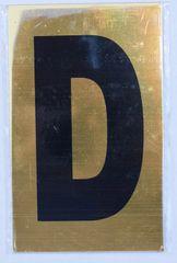 Apartment number sign D – (GOLD ALUMINUM SIGNS 4X2.5)