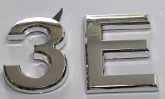 z- APARTMENT, DOOR AND MAILBOX LETTER 3E SIGN - LETTER SIGN 3 E- SILVER (HIGH QUALITY PLASTIC DOOR SIGNS 0.25 THICK)