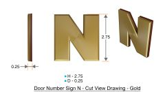 z- APARTMENT, DOOR AND MAILBOX LETTER N SIGN - LETTER SIGN N- GOLD (HIGH QUALITY PLASTIC DOOR SIGNS 0.25 THICK)