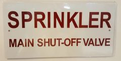 SPRINKLER MAIN SHUT-OFF VALVE SIGN- WHITE BACKGROUND (ALUMINUM SIGNS 5X10)