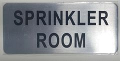 SPRINKLER ROOM SIGN- BRUSHED ALUMINUM (ALUMINUM SIGNS 3.5X8)- The Mont Argent Line