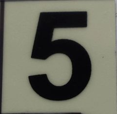 PHOTOLUMINESCENT DOOR NUMBER 5 SIGN (GLOW IN THE DARK HIGH INTENSITY SELF STICKING PVC HEAVY DUTY STICKER SIGN AND APT # MARKING 1X1)