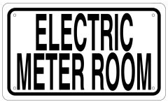 ELECTRIC METER ROOM SIGN - WHITE ALUMINUM (6X10)