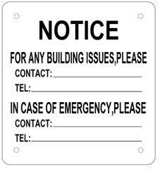 EMERGENCY CONTACT SIGN (ALUMINUM SIGN SIZED 8.5X8)
