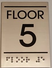 FLOOR NUMBER FIVE (5) SIGN - STAINLESS STEEL (5.75X4)