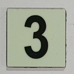 Glow in dark Number 3 sign The Liberty Line (Aluminum SIGNS 1x1, 3 RCNY §505-01)