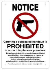 CONCEALED CARRY NOT ALLOWED SIGN - WHITE ALUMINUM (14X10)