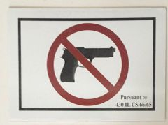 NO HANDGUNS SIGN – PURE WHITE (5X7)