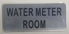 WATER METER ROOM SIGN - BRUSHED ALUMINUM (ALUMINUM SIGNS 3.5X8)- The Mont Argent Line