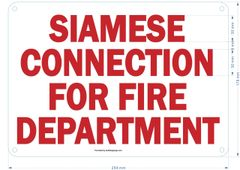 SIAMESE CONNECTION FOR FIRE DEPARTMENT SIGN (ALUMINUM SIGNS 7x12)
