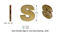 z- APARTMENT, DOOR AND MAILBOX LETTER S SIGN - LETTER SIGN S- GOLD (HIGH QUALITY PLASTIC DOOR SIGNS 0.25 THICK)