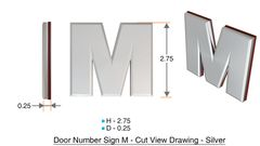 z- APARTMENT, DOOR AND MAILBOX LETTER M SIGN - LETTER SIGN M- SILVER (HIGH QUALITY PLASTIC DOOR SIGNS 0.25 THICK)
