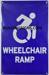 WHEELCHAIR RAMP SIGN- BLUE BACKGROUND (ALUMINUM SIGNS 14X9)- The Pour Tous Blue LINE
