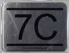 z- APARTMENT NUMBER SIGN – 7C -BRUSHED ALUMINUM (ALUMINUM SIGNS 2.25X3)