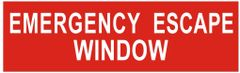 EMERGENCY ESCAPE WINDOW SIGN- RED (ALUMINUM SIGNS 3X10)