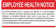 FOOD ESTABLISHMENT EMPLOYEE HEALTH NOTICE (ALUMINUM SIGNS 6X12)
