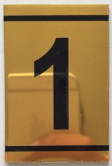 z-NUMBER ONE SIGN – 1 SIGN - GOLD ALUMINUM (2.25X1. 5)