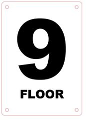 FLOOR NUMBER NINE (9) SIGN