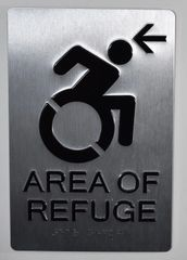 AREA OF REFUGE LEFT SIGN – SILVER - BRAILLE(ALUMINUM SIGNS 9X6)