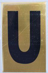 Apartment number sign U – (GOLD ALUMINUM ALUMINUM SIGNS 4X2.5)