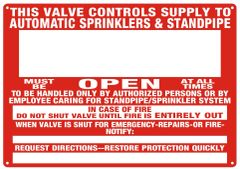 THIS VALVE CONTROLS SUPPLY TO AUTOMATIC SPRINKLERS & STANDPIPE SIGN - REFLECTIVE !!! (ALUMINUM SIGNS 10x12)