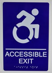 ACCESSIBLE EXIT Sign- BLUE (ALUMINUM SIGNS 9X6)