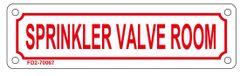 SPRINKLER VALVE ROOM SIGN (ALUMINUM SIGN SIZED 2X7)